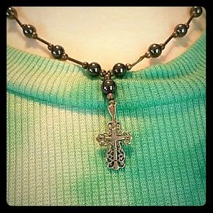 Jewelry - Vintage Sterling Silver & Hematite Cross Necklace